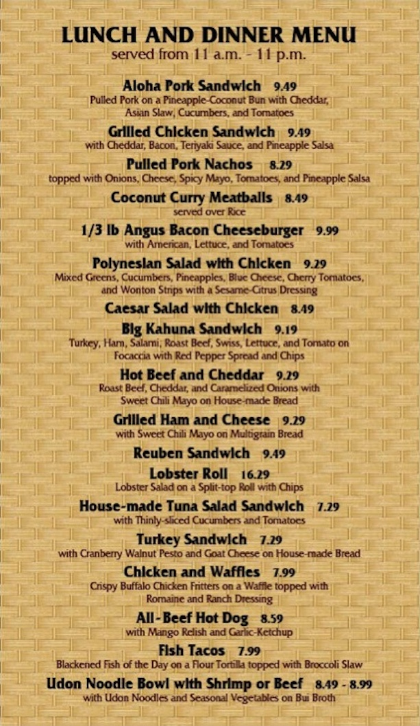 Capt Cooks lunch and dinner menu