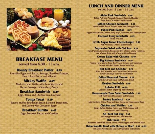 Capt. Cook's menu