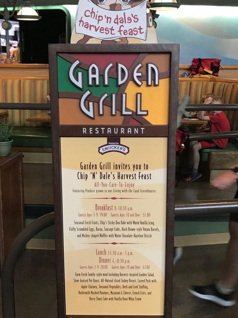Garden Grill Menu Sign