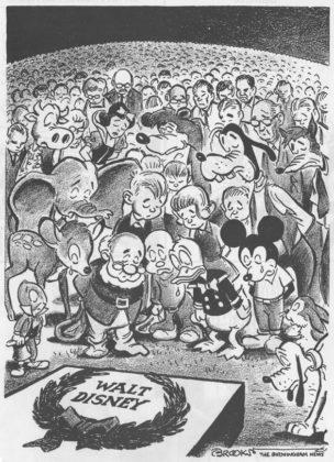 Walt Disney died newspaper cartoon