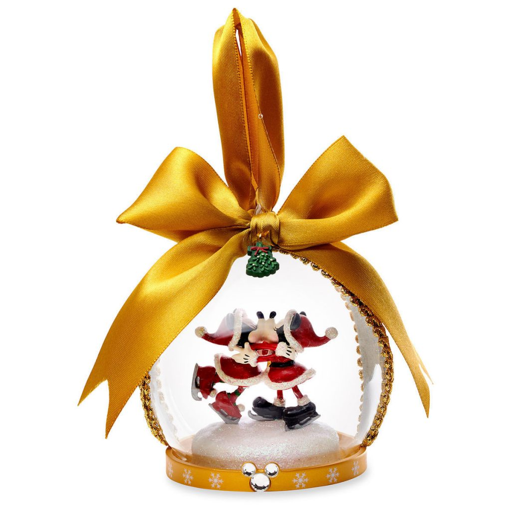 santa mickey and minnie glass globe ornament add a bit of disney magic to your christmas tree this season with this delightful ornament