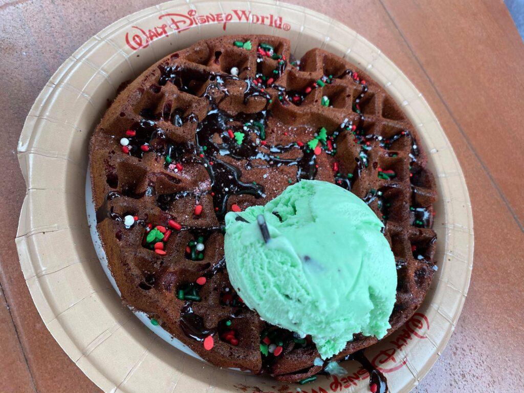 Santa Mickey Waffle Sundae