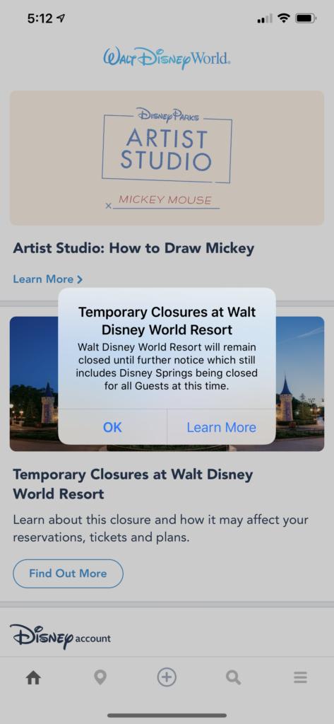 MDE Disney Springs Closed