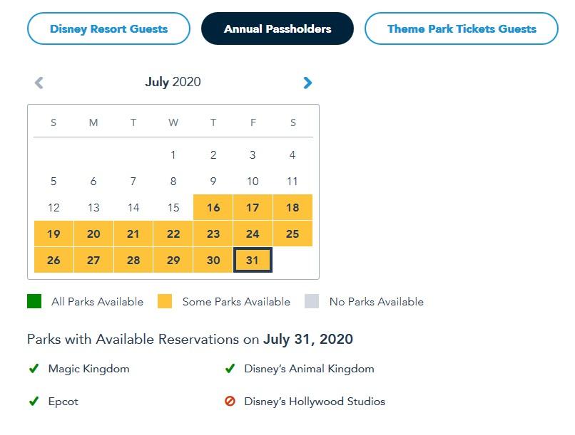 Passholders Disney Park Pass reservation