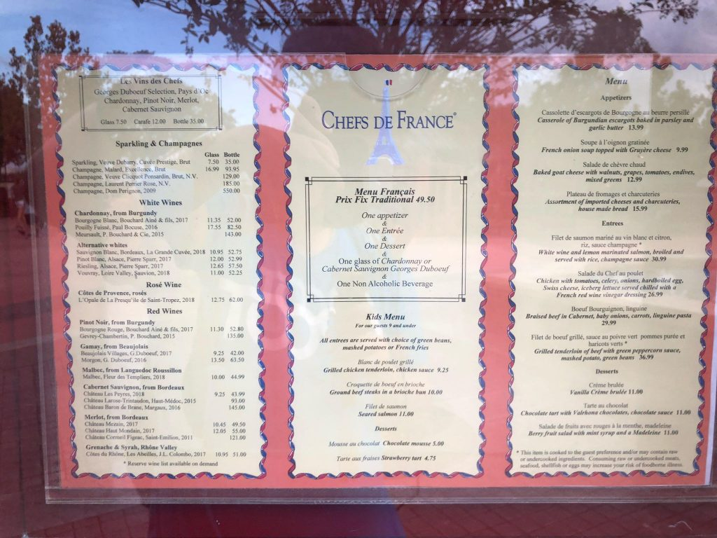 Chefs De France Reopened At Epcot Last Week With New Prix Fixe Menu Mickeyblog Com