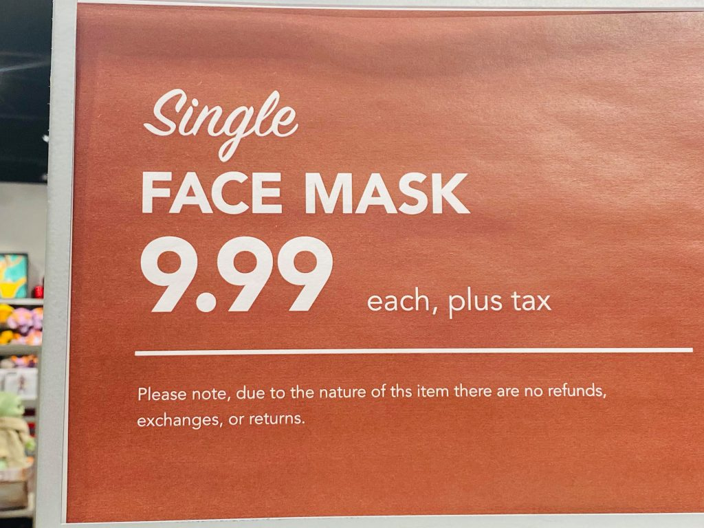 disney face mask cost