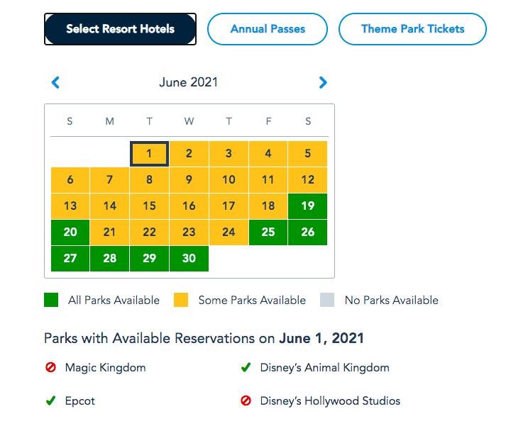 park pass calendar