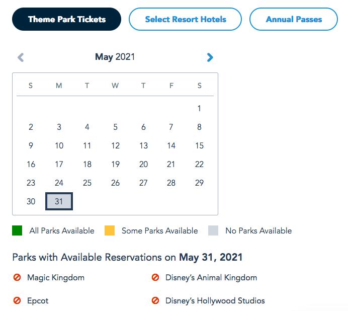 Walt Disney World, Tickets