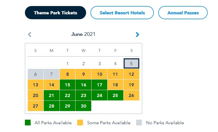 Summer Disney park reservations