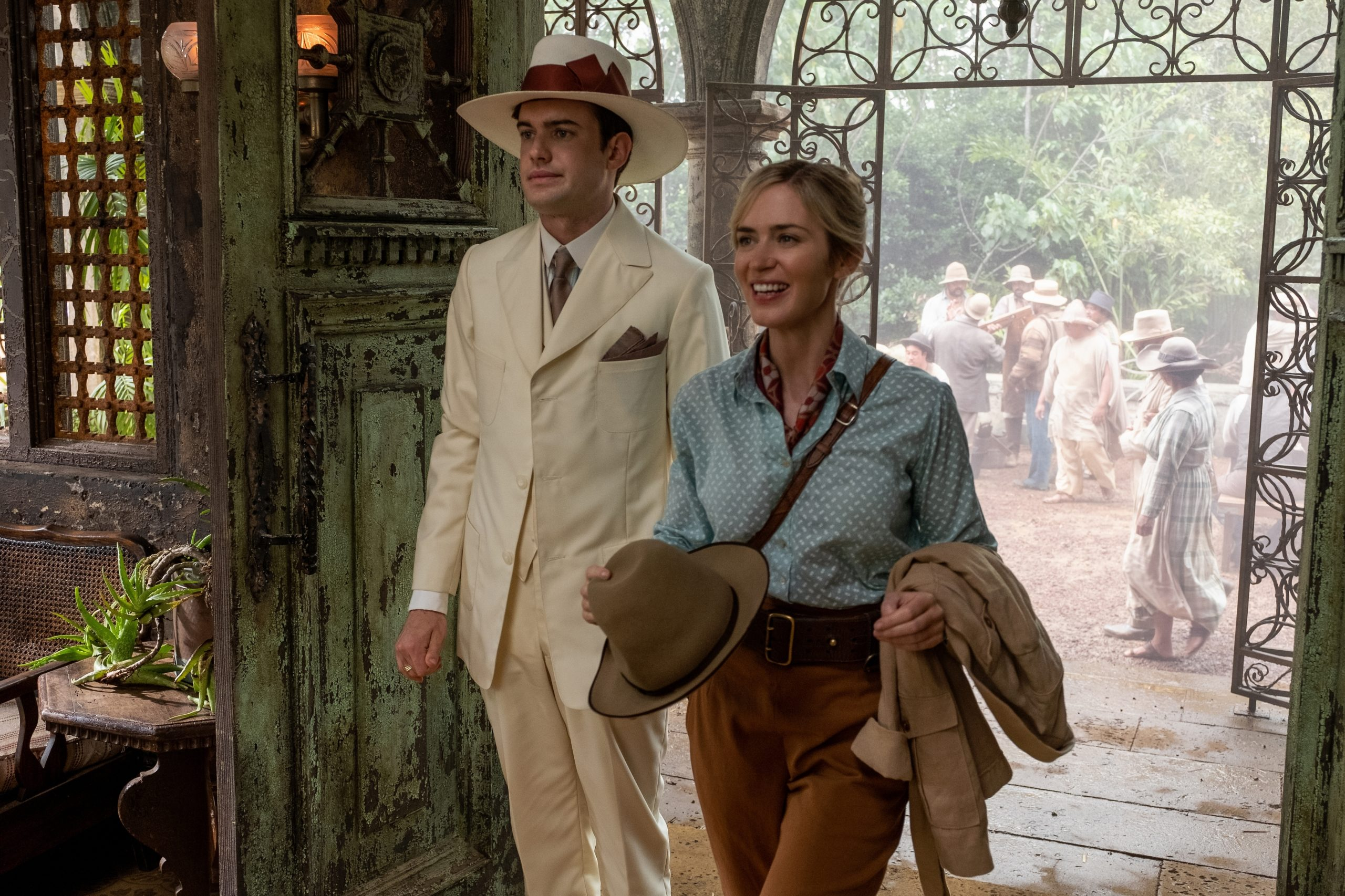Blunt as Lily Houghton and Whitehall as MacGregor Houghton in Disney's Jungle Cruise