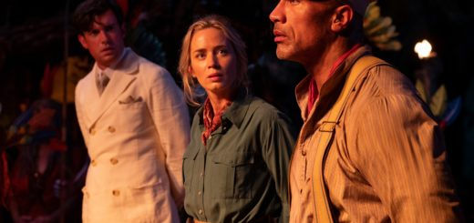 Johnson as Frank Wolff, Blunt as Lily Houghton, and Whitehall as MacGregor Houghton in Disney's Jungle Cruise